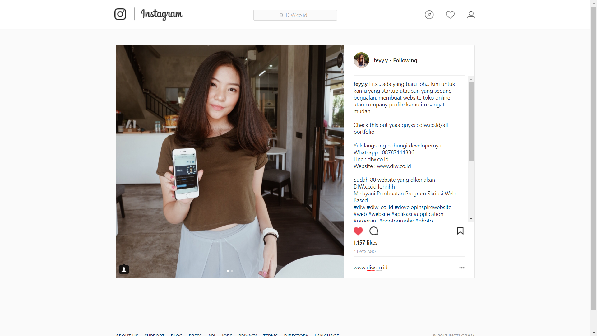 Endorsement Liena Meilianti - DIW.co.id - Go Online Without Think Code