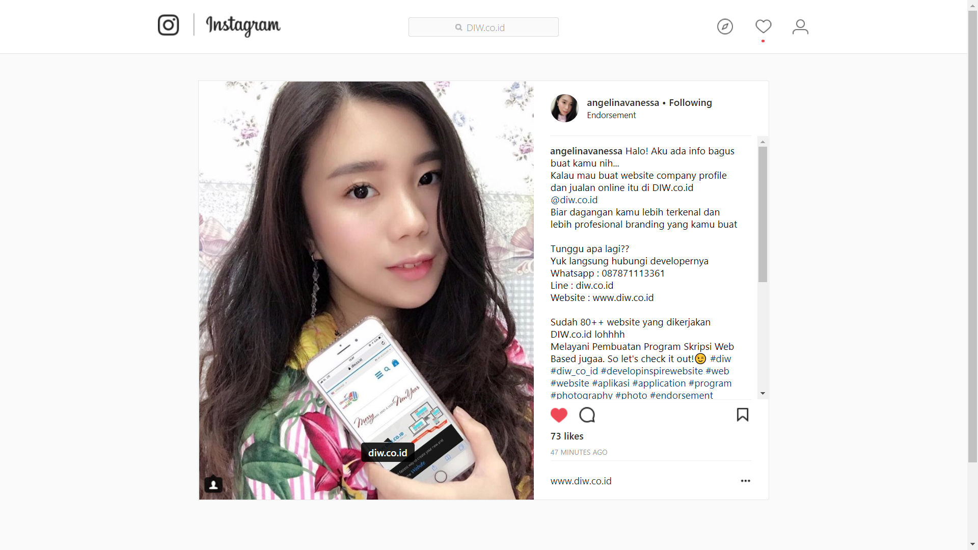 Endorsement Angelina Vanessa - DIW.co.id - Go Online Without Think Code