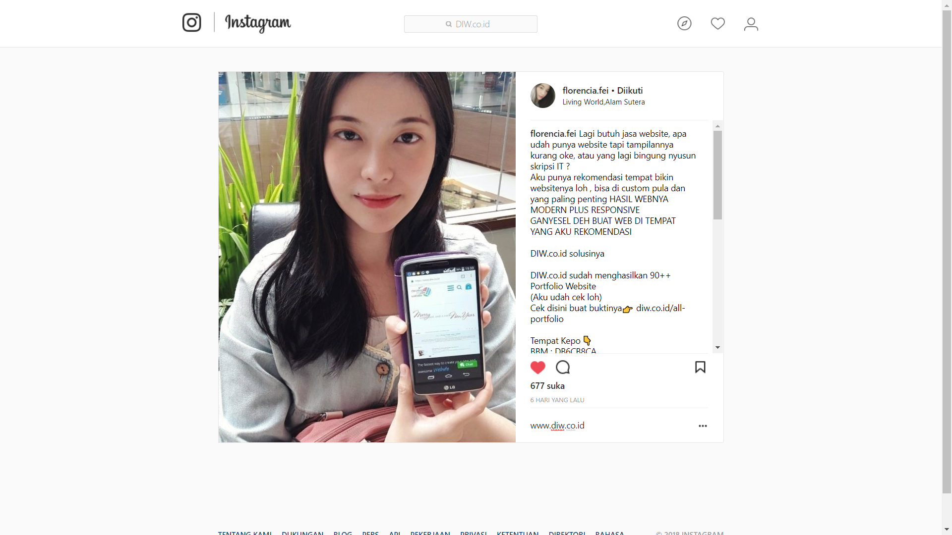Endorsement Florencia Irene Wijaya - DIW.co.id - Go Online Without Think Code
